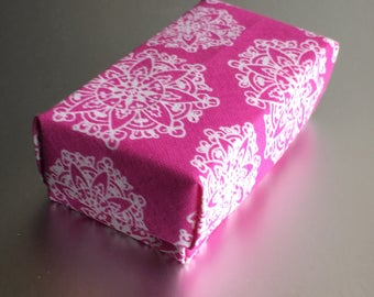 Fabric Origami Gift Box in Fuchsia and White