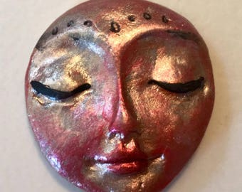 Handmade clay face  head cabochon mosaic tile woman lady craft supplies  handmade cabochon  mosaics dolls jewelry craft parts