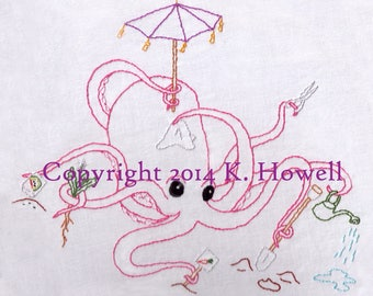 Octopus Hand Embroidery Pattern, Octopi, Gardening, Garden, Beatles, PDF