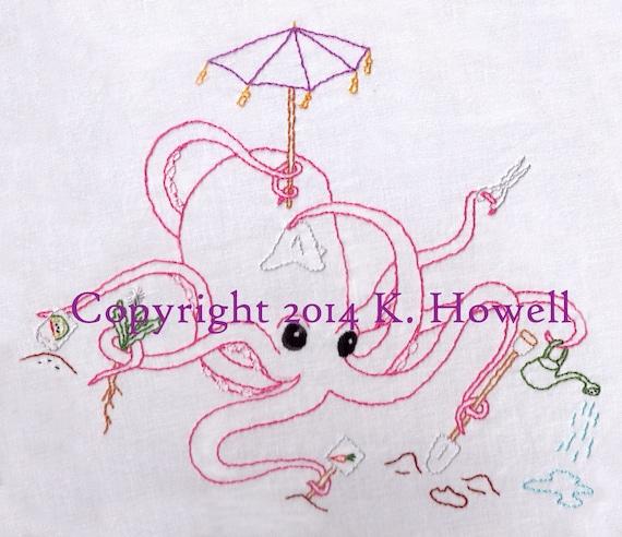 Octopus Hand Embroidery Pattern Octopi Gardening Garden Beatles