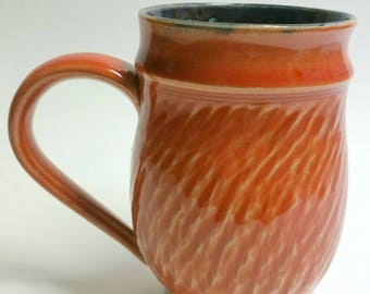 Orange and Black Handmade Mug - Wheel Thrown Pottery - Holds 18 to 20 ounces - Not Quite a Mega Mug!