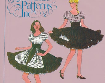 Vintage 1980s Authentic Patterns Inc 325 Ladies Square Dance Dress and Overskirt Peasant Bodice Size 12-14-16
