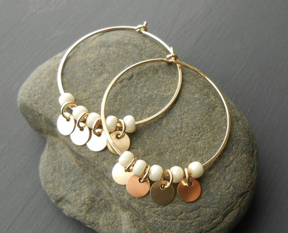 Gold Hoop Disc Earrings, Gold Filled Medium Hoops