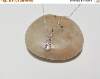ON-SALE Light Amethyst Sterling Silver Necklace - February Birthstone, Handmade Necklace, Cubic Zirconia, Birthday Gift