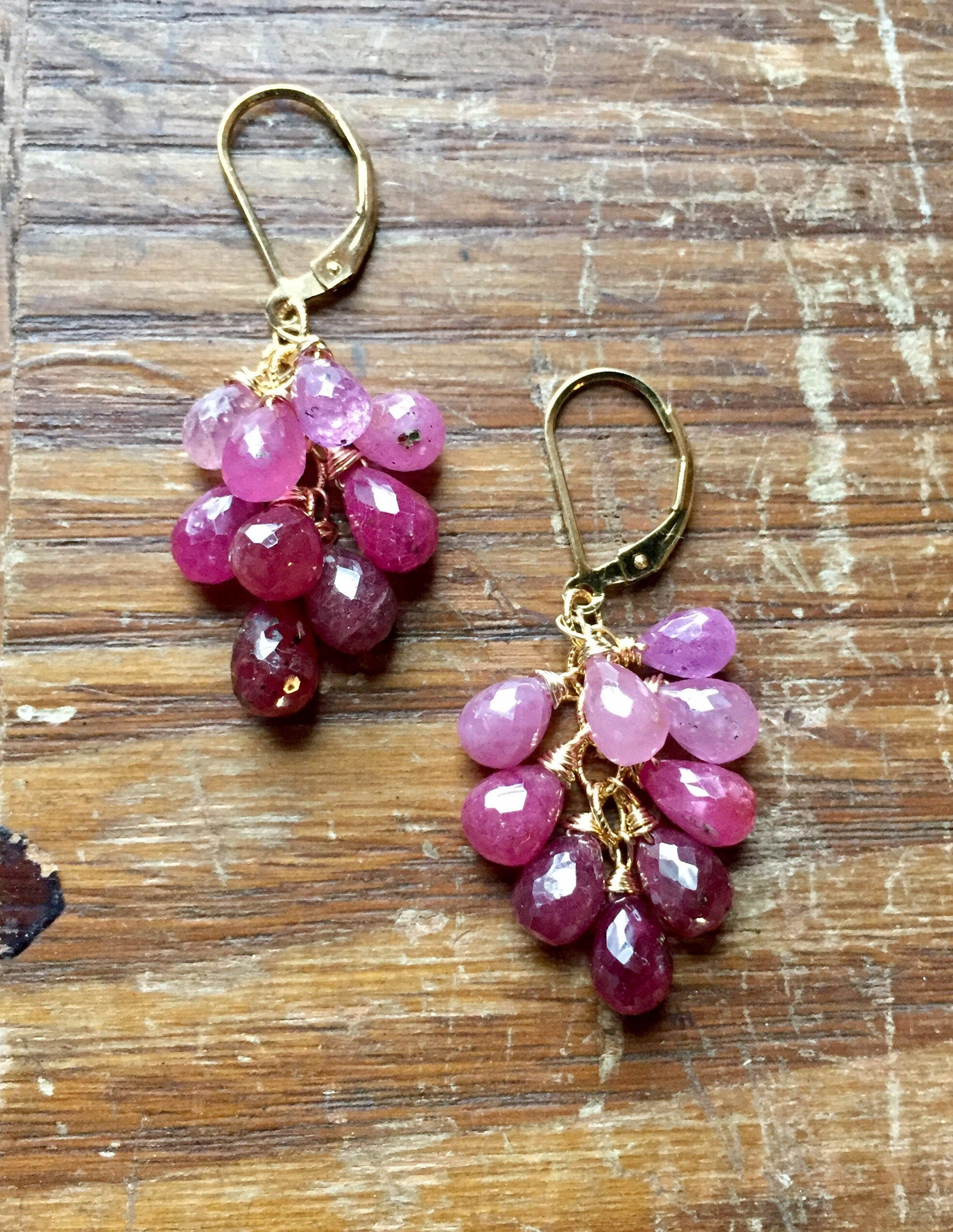 p briolette pink september boho sapphire birthstone il earrings sapphires cluster fullxfull gemstone birthday