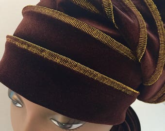 Chocolate Brown Velvet  Slouchy Gold Stitching Slouchy Hat