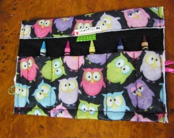 Colorful Owl Jumping  Kindergarten First Grade Crayon Keeper Holder