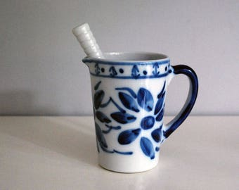 Brazilian Drink Pitcher, Cocktail Muddler, Porcelain Barware, Blue White China, Monte Siao, Caipirinha Maker, Ceramic Cocktail Mixer