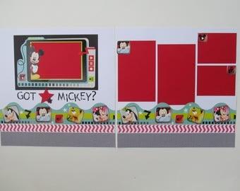 Got Mickey Premade 12x12 Scrapbook Layout, DIY Kit, Scrapbook Page Kit,