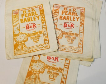 Vintage Mills Sack Vintage Linen Grain Bag Grain Sack B&K Pearl Barley Grain Sack Graphic Design on Flour Sack