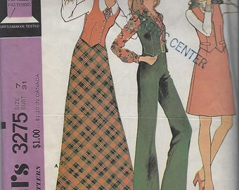 Vintage McCall's 1970s Dress Pattern 3275 Size size 7