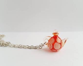 Orange Miniature Teapot Necklace, Tea Pot Pendant,Glass Tea Kettle,Teapot Necklace Charm,Miniature food Necklaces,Gift Under 50,Gift for her