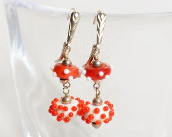 Jazzy Lampwork Earrings - Red and White Earrings - Red Lampwork Earrings - Red Sterling Silver Earrings - Happy Shack Designs