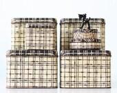 Vintage Black and White Plaid Tin Boxes, Set of 7