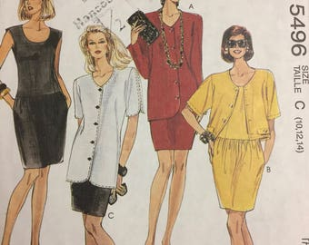 Vintage  Misses' Jacket and Dress Sewing Pattern McCall's 5496 Size 10-14 Bust 32-36 inches Uncut  Complete