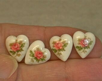 Vintage TENSHA Japanese White Porcelain Heart Cabochon PINK Rose 10mm pkg6 por215
