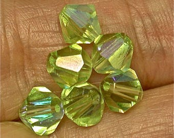 Vintage CRYSTAL BEADS Austrian Faceted Iridescent mint green Bi-Cone 6mm pkg6 gl830