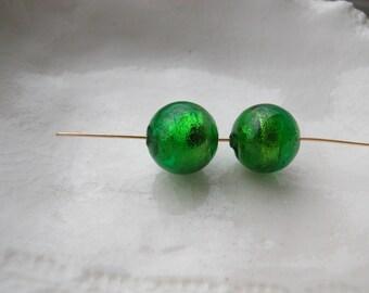 Green Murano Round Glass Bead Pair 10mm