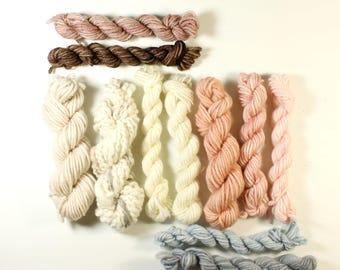 heather ... handspun yarn set, weaving creative yarn bundle, hand spun, hand dyed yarn, handspun art yarn
