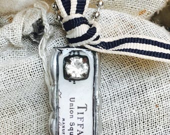 Tiffany Soldered Pendant with Vintage Rhinestone