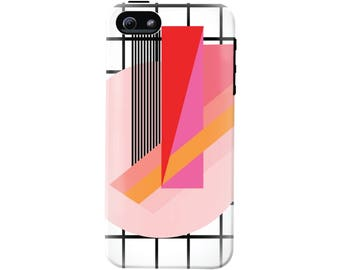 80's Memphis Design Cell Phone Case (fits all types of phones) - Abstract Geometric - Tough case with rubber bumper and liner