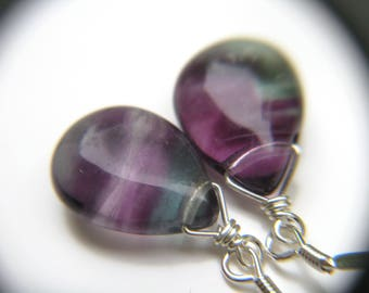 Rainbow Fluorite Earrings . Sterling Silver Wire Wrapped Gemstone Earrings . Simple Teardrop Earrings Drop Earrings - Chakra Collection