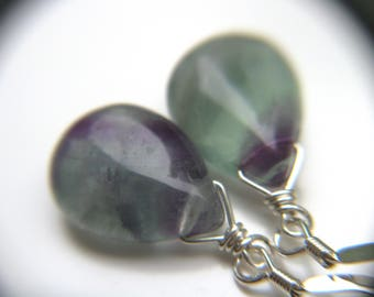 Mental Health Jewelry . Mindfullness Jewelry . Rainbow Fluorite Earrings . Healing Stone Jewelry for Mental Clarity - Chakra Collection