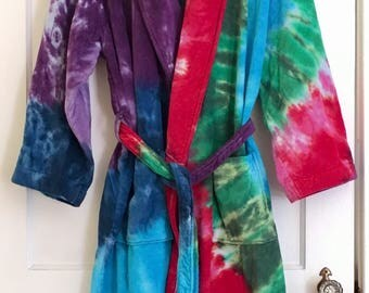 Tie Dye Robe in Velour Cotton Terry Cloth