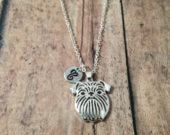 Brussels Griffon dog initial necklace - Brussels Griffon jewelry, dog breed jewelry, gift for Brussels griffon owner, Griffon Bruxellois