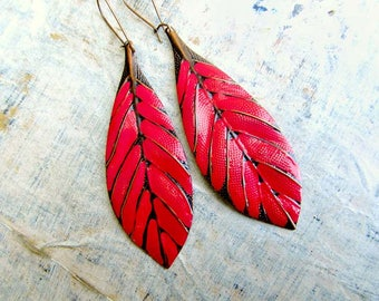 Red earrings, long Leaf earrings, feather boho earrings, Bohemian jewelry