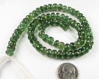 SHOP SALE Luxe Rich Green Apatite Faceted Rondelles Gemstones 6mm - 7mm (10 gem beads)