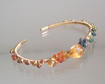 Gemstone Cuff, Sapphire Bracelet with Imperial Topaz, Vesuvianite, Wire Wrapped and Hand Wrought, Stackable, City Girl Style