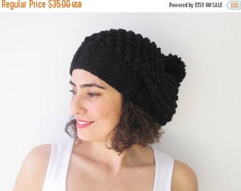 20% WINTER SALE Black Slouchy Hat with Pon Pon by Afra