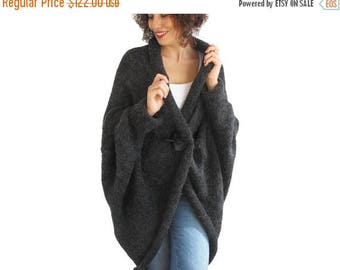 20% WINTER SALE Plus Size Dark Gray Anthracit Over Size Wool Cardigan Poncho Outwear