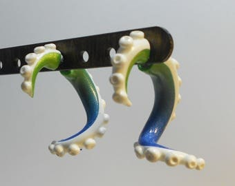 Blue green Tentacle fake gauge earrings Faux gauges Fakers Stretched ears  Octopus squid tentacles suction cup
