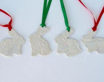 Set of Four ceramic holiday ornament /gift tags, Porcelain with Luster