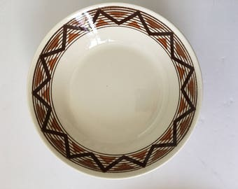 Navajo Royal China USA 9 Inch Vegetable Serving Bowl Dinnerware Replacement Serving Retro Brown Geometric Design