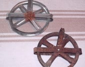 2 Old Rusty Clothes line Pulleys
