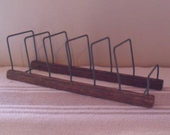 Vintage Primitive Wood and Metal Kitchen Rack