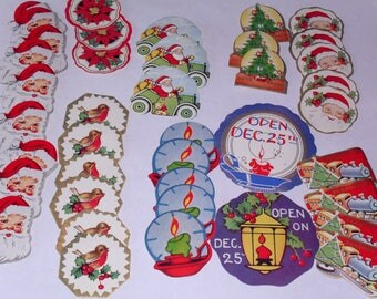 40 Vintage Christmas Gift Card Stickers