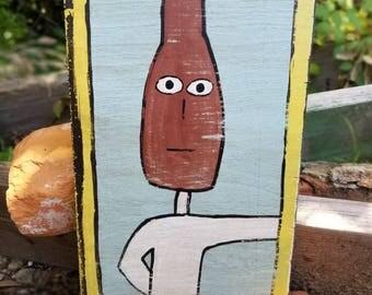 Outsider Art/Folk Painting/Bottle Head/Home Decor/Bottle Shop Fan/Painting on Wood
