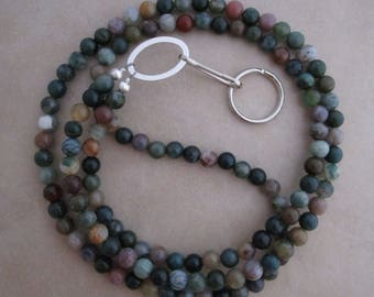 ID lanyard fancy jasper badge ID holder with silver accents