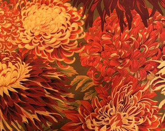 2 yds. Japanese Chrysanthemum in brown, by Philip Jacobs for the Kaffe Fassett Collection
