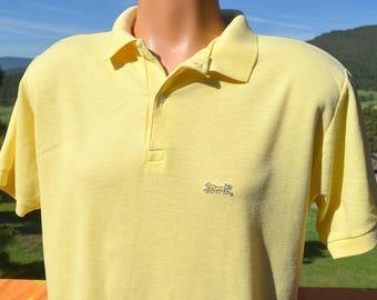 vintage 80s LE TIGRE golf polo shirt light yellow Large Medium letigre collar preppy soft