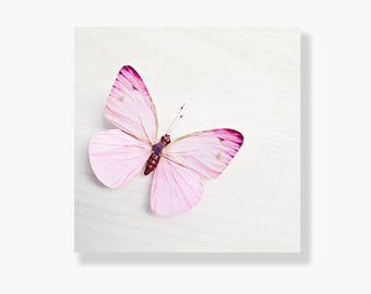 Butterfly photo canvas, nursery wall art, girls room decor, whimsical butterfly canvas, pastel pink, butterfly art - Pink and White