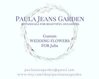 Custom Wedding Flowers for Julia Peonies, Lavender, Larkspur, Bulk Lavender and Wheat, Bouquets, Boutonnieres, Wrist Corsages