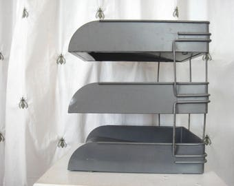 Vintage Industrial Metal File Triple Tray Stand, Globe Wernicke, Grey, Office, In Out Bins, Mail Holder, Desk Top Organizer
