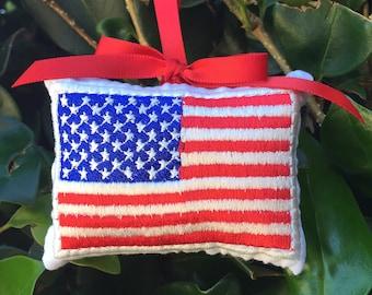 American Flag Christmas Ornament  - Gift Topper - Door Knob Hanger - USA - Stars and Stripes