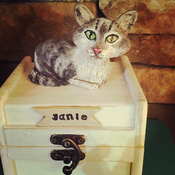 Small Personalized Pet Urn clay folk art sculpture or memorial based on your pets photo