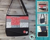 Patchwork bag flap for LARGE messenger bag, changeable flap collection**FLAP ONLY**